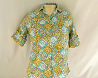 Vintage 50s / 60s Cotton Blouse / Shirt  -- New w/ Tag --  S / M