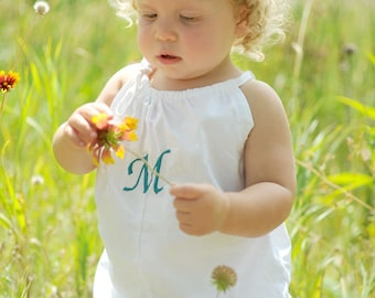 Baby Monogrammed White Bubble Romper sizes newborn, 1-3 months, 6 months, 12 months, 18 months, coming home outfit