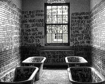 Abandoned Asylum - Manteno State Hospital, Manteno, Illinois - Black and White Photography Print