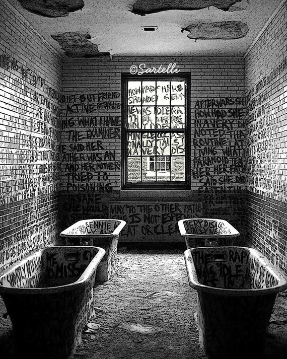 Abandoned Asylum - Manteno State Hospital, Manteno, Illinois - Black and White Photography Print
