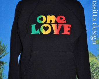 One Love (Rasta colours) on black hoodie