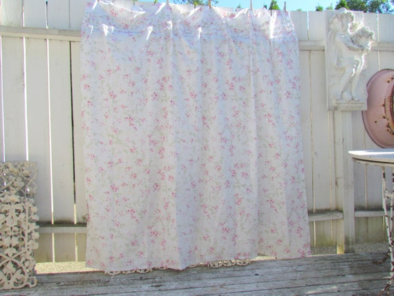 Shabby Chic Rose And Ruffles Shower Curtain Rare By