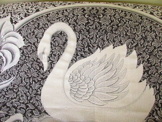 Vintage White Lace Swan Shower Curtain