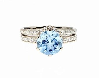 engagement ring set,  Sky blue topaz ring, diamond engagement, solitaire, diamond wedding ring, curved band, wedding ring set, light blue