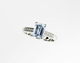 Emerald cut aquamarine ring, aquamarine engagement ring, diamond ring, solitaire, white gold, blue engagement, wedding ring, vintage style