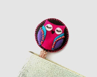 Felt owl bookmark with ribbon Personalized bookmark Black Fuchsia owl bookmark Gift for book lover