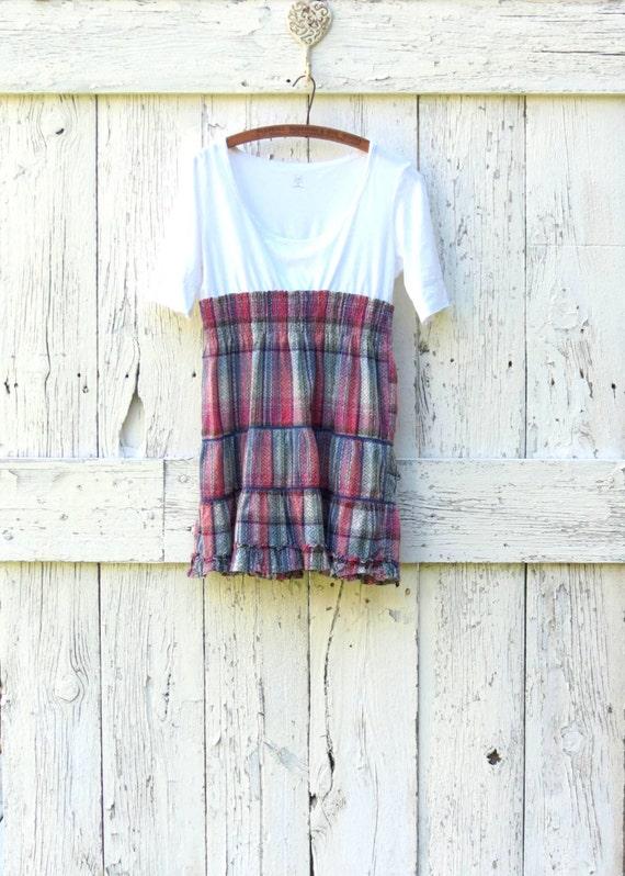 Plaid Babydoll top- upcycled boho shirt- Plaid indie fashion- refashioned tunic- ecofashion for women