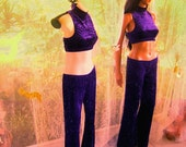 Roil purple 2 piece dance apparel 1980s style costume 1960s style