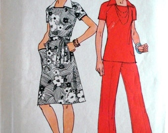Vintage 1974 Simplicity 6384 Jiffy Square Neck with Collar Dress Or Top & Pants Sewing Pattern Size 16 Bust 38 UNCUT