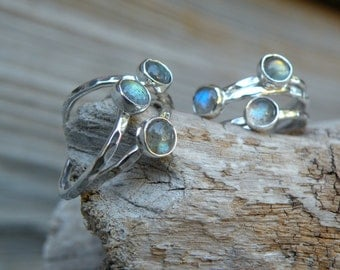 Labradorite Ring, Labradorite Stack Ring, Stacking Ring, Simple Labradorite Ring