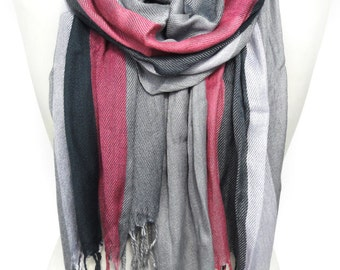 Plaid Scarf. Pink Pashmina. Pink Gray Scarf. Birthday Gift. Extremely Soft Scarf. Smooth Winter Shawl. 21x71in (55x180cm) Ready2Ship.