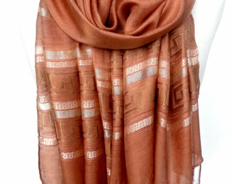 Copper Scarf. Bronge Scarf. Sparkling Shawl. Ochre Embroidered Viscose Shawl. Glam Scarf. Metallic Scarf. 20x70in (50x180cm) Ready2Ship
