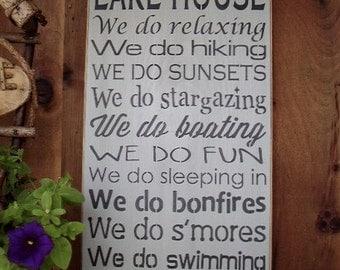 Wood Sign, In This Lake House, Lake, LakeHouse, Family, HandmadeSubway, Word Art