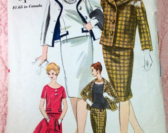 Vintage Vogue Classic Suit and Blouse Pattern, Vogue 4206, Very Chic, 1960s