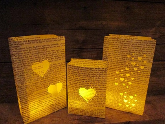 Book Luminaries, 5 Paper Lanterns, Book Wedding Decor, Book Themed, Library Themed, Vintage Book Decor, Library Wedding, Luminaries