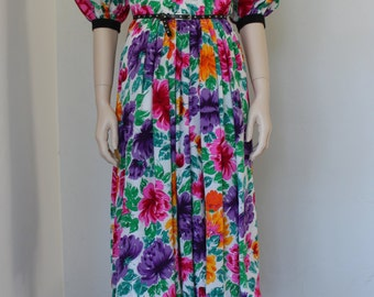 SALE vntg floral frock / silk dress / puff sleeves / NEIMANS / wedding party / summer garden