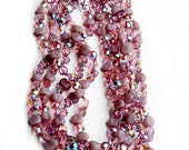 Austria Satin Glass Necklace 1940s Jewelry Purple Vintage Sparkle Collectible High Fashion Beauty Beaded Aurora Borealis