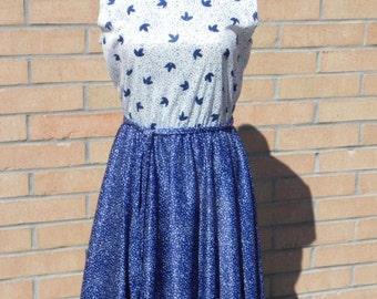 Vintage Blue and White Polyester Dress with Jacket