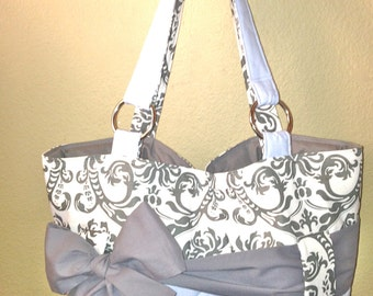 Personalized Diaper Bag Set In Light Blue & Grey Damask.  Bag, Changing Pad, Wipe Case.  Interchangeable Sash in Solid Grey