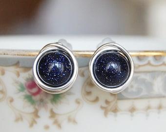 Blue Goldstone Earrings , Bridesmaids Earrings , Wire Wrapped Studs , Navy Post Earrings , Silver Goldstone Earrings