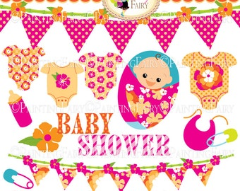 INSTANT DOWNLOAD Digital ClipArt Tropical Baby Shower Cute Girl Hibiscus flower Bamboo Bunting Pink Orange Personal Commercial Use pf00060-2