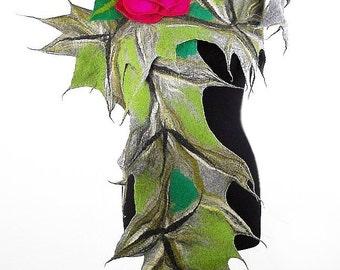 Felted Scarf Nunofelt Scarf JUNGLE with fuschia pink Brooch Long Wrap Felt Scarves wearable art Felt