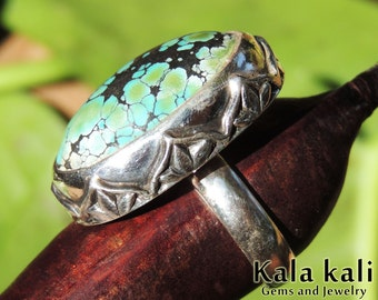Turquoise Silver Ring hand engraved lotus flower Ring Size 8 1/2 US