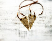 Wooden hearts rustic ornaments Valentines day decor, Valentine gift brown off white gold
