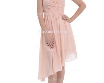 Pearl Pink Strapless Bridesmaid Dress, Asymmetrical Chiffon Bridesmaid Dress