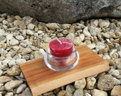 Wooden tea light holder with glass, made out of Wild Cherry, red, valentines day, valentines, valentines gift,