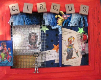 Circus Animal Clown Jester Monkey Upcycled Altered Art Shadowbox Collage Assembly Mixed Media