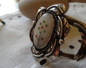 Native American jewelry sterling bracelet:  VTG Zuni Navajo cuff & multi stone inlay turquoise coral Valentine's Easter wedding birthday