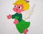 Vintage Popcorn Angel Wall Hanging, Melted Plastic Decoration