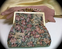 DeLill Needlepoint Petit Point Tapestry Purse with Satin Lining and Chain Handle 1930s - 1950s Luxe