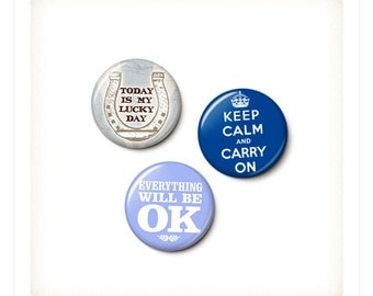 Optimism Button/Magnet Set - One Inch Pinback Buttons - One Inch Round Magnets