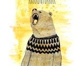 Rúntur bear - Large poster print - Iceland - Bear with lopapeysa / icelandic wool sweater