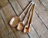 Rustic Cottage Chic Set of 4 Mid Century Copper Aluminum Serving Measuring Spoons