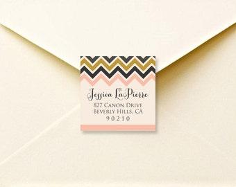 Printable Chevron return address labels - printable address labels - calligraphy - custom envelope labels