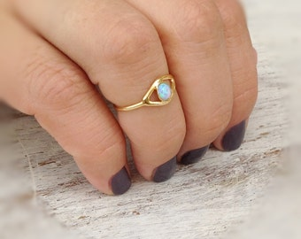 Evil eye ring, gold ring, stacking ring, eye, evil eye jewelry, opal stone,gift for her -10028