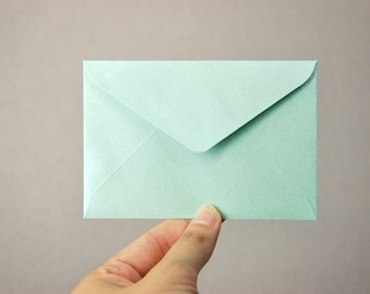C7 Mini Metallic Mint Envelopes (Set of 20) - Perfect for business cards, wedding thank you cards & mini note cards