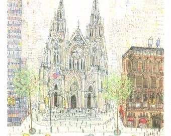 ST PATRICKS CATHEDRAL New York Art Print, Architecture Nyc, Manhattan Building, Watercolour Painting, Sketch City Wall Art Clare Caulfield