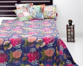 Queen Blue Kantha Quilt, Blanket, Bedspread, Bedcover In Beautiful Floral Design. - craftauraetsy