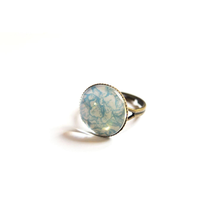 Camellia Flower Blue Flower Ring Blue Ring Victorian Ring