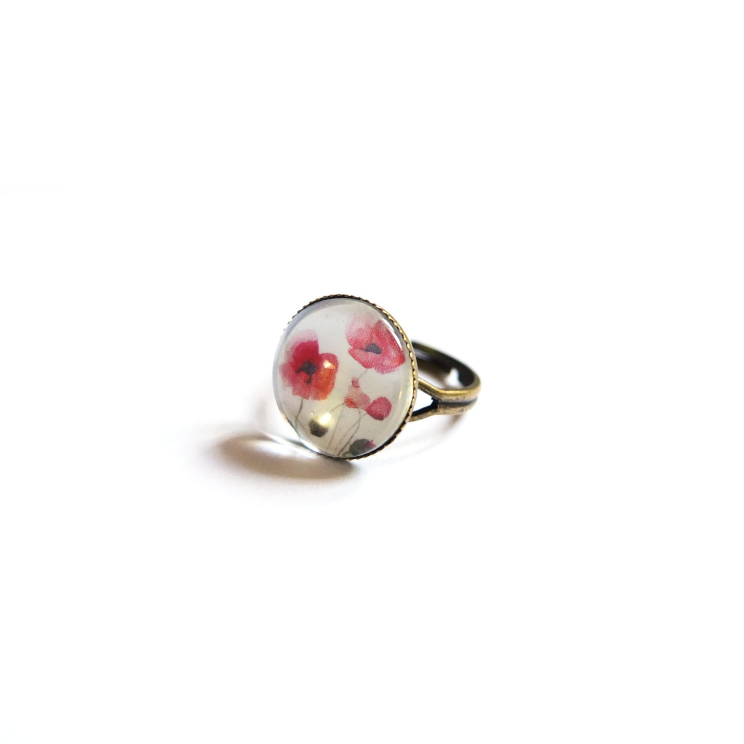 Poppy Ring Red Poppy Ring Flower Ring by LittlePiecesWithLove