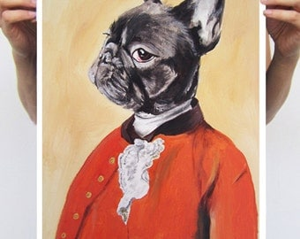 Animal painting drawing illustration portrait painting mixed media digital print POSTER 11x16: Gentleman bulldog