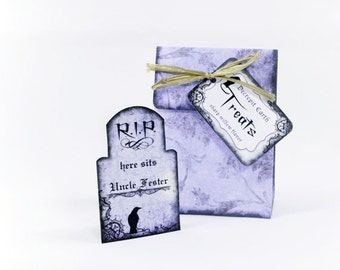 Printable Halloween Favor Bag and Tombstone Place Card