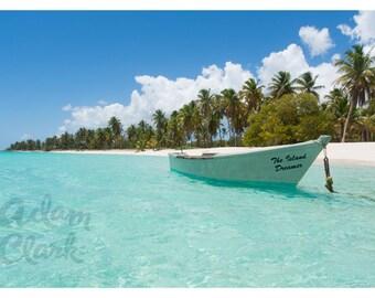 Paradise Bay - Carribean Beach - Sun, Sea, Sand and Boat Photography - 12 x 8 inch print