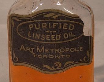 Antique Art Metropole Toronto Linseed Oil in Bottle c1911-20
