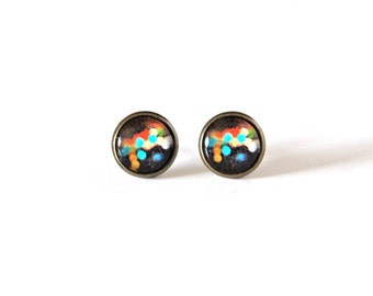 SALE! 12mm Colorful Bubble Post Earrings, Colorful Cabochon Earrings, Colorful Bubble Jewelry, Colorful Bubble Earrings, Color Earring Studs