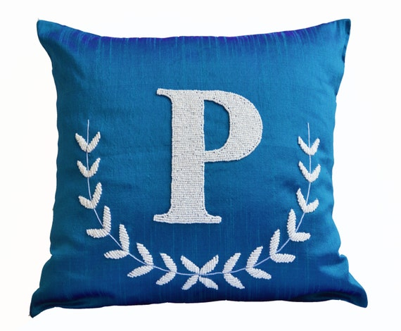Decorative Pillows With Monogram : Items similar to Monogram Silk Pillow, Blue Silk Pillow, Personalized letter pillow, Monogrammed ...